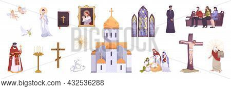 Christianity People Religion Symbols Believers Parishioners Sitting In Pew Praying Crucifixion Pries