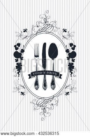 Vector Design Of Restaurant Menu Decorated With A Beautiful Antique Cutlery And Floral Ornaments In