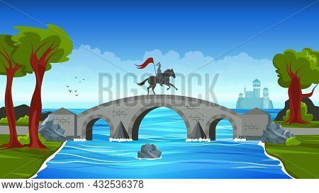 Bridges Colored Concept Small Stone Bridge Linking The Two Banks And A Man On Horseback On It Vector