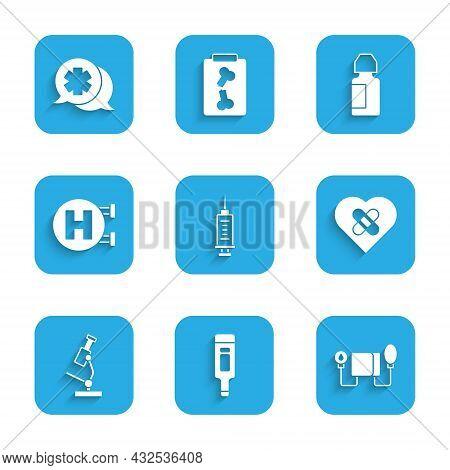 Set Syringe, Digital Thermometer, Blood Pressure, Healed Broken Heart, Microscope, Hospital Signboar