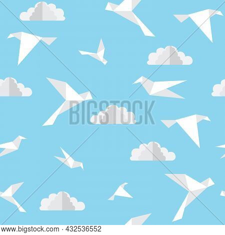 Seamless Bird And Cloud Pattern. Repeat Birds Flying In The Sky Background. Origami Paper Craft Styl