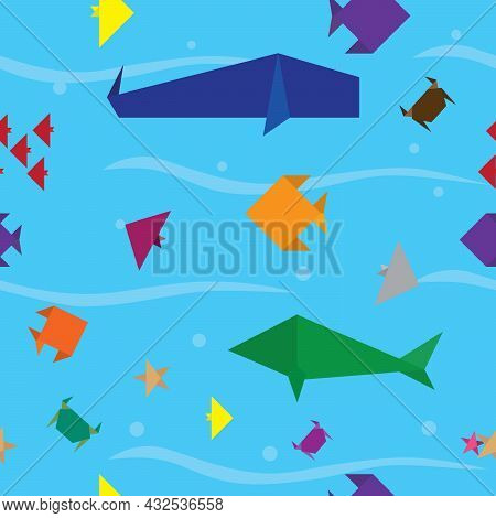 Seamless Sea Life Animal Pattern. Repeat Underwater Background. Origami Paper Craft Style. Vector An