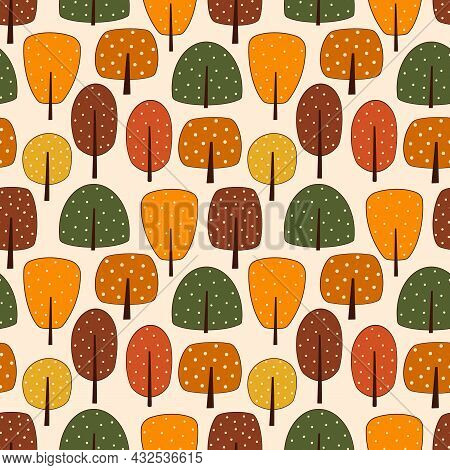 Abstract Forest Autumn Tree And Bush Seamless Pattern. Colorful Fall Season Woodland, Park. Natural
