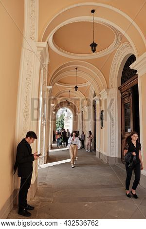 Lviv, Ukraine - 10 September, 2021: Young Students Going Out From Ivan Franko University. A Group Of