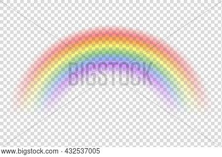 Realistic Rainbow. Sky Magic Spectrum Color After Rain On Transparent Background. Vector Fantasy Eff