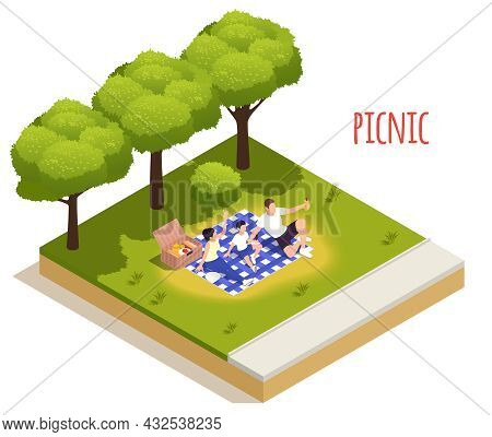 Park Outdoor Picnic Isolated Isometric Element Icon Family On Gingham Tablecloth Enjoying Snacks Fro