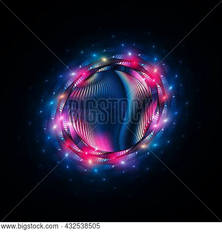 Colorful Futuristic Neon Object Isolated On Black, Computer Generated Abstract Background, 3d Render