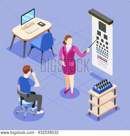 Health Checkup Isometric Composition With Man During Vision Examination Tests At Ophthalmologists Of
