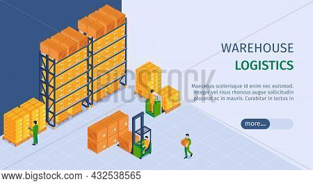 Logistics Warehouse Service Landing Page Isometric Horizontal Web Banner With Storage Facility Loade
