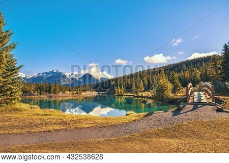 Bridge Over Cascade Ponds In Banff National Park
