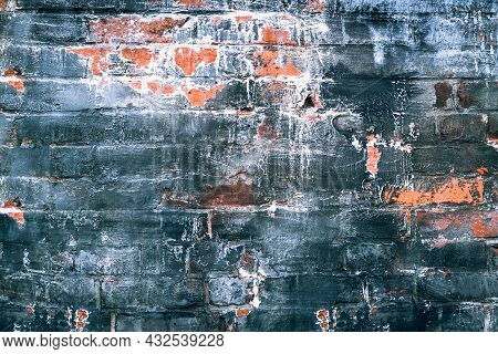 Texture For Background Of Worn Brick Wall With Dark Color Painted.