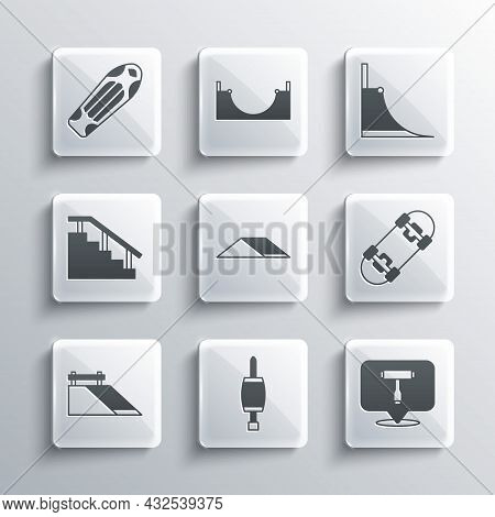 Set Screwdriver, Skateboard T Tool, Park, Stairs With Rail, Deck And Icon. Vector