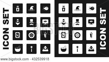 Set Fireball, Magician, Bottle With Potion, Stone, Witch Hat, And Tarot Cards Icon. Vector