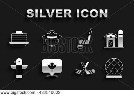 Set Canadian Maple Leaf, Farm House, Montreal Biosphere, Ice Hockey Sticks, Totem Pole, And Puck, St