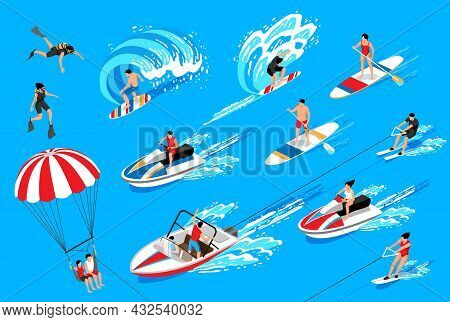 Water Sport Isometric Icons Set On Blue Background Illustrating Swimming Water Skiing Surfing Canoei