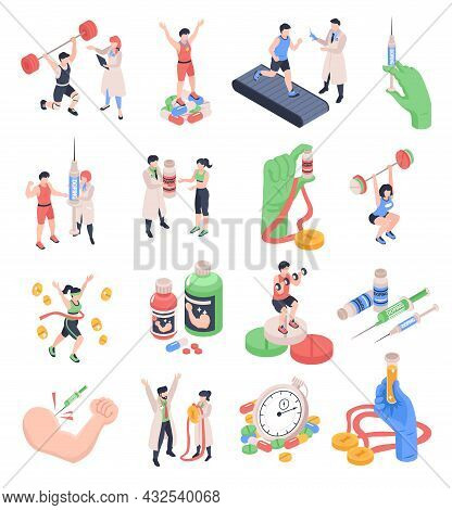 Sports Doping Isometric Icons Set With Anabolic Steroids Awards Champions Sportsmen Isolated On Whit