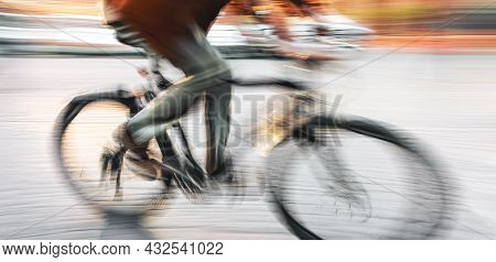 Abstract Image Of People In The Street With A Blurred Background. Intentional Motion Blur. Man On A