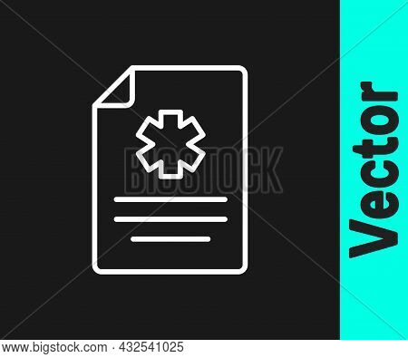 White Line Medical Clipboard With Clinical Record Icon Isolated On Black Background. Health Insuranc