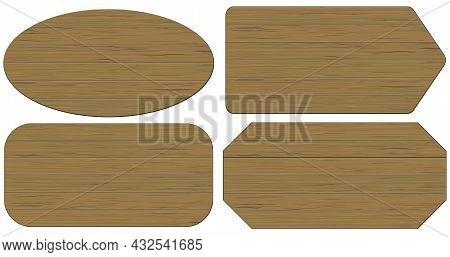 Cartoon Wood Banners Wooden Planks Set. Vector