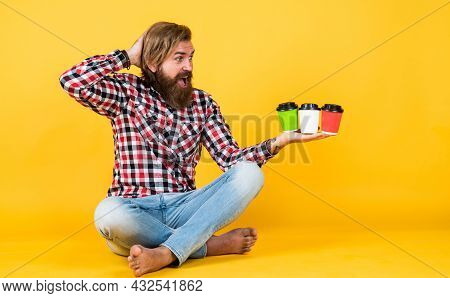 Hard Choice. Concept Of Inspiration. Hipster Man Drink Coffee. Handsome Bearded Man Holding A White