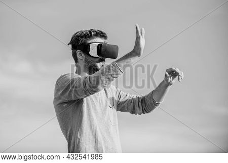 Cool. Create Own Business. Play Virtual Game. Macho Man Wear Wireless Vr Glasses.. Sexy Man Sky Back