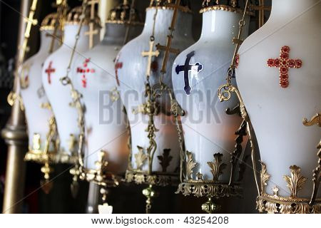 Lamps  At The  Stone Of Anointing At The Church Of The Holy Sepulcher.