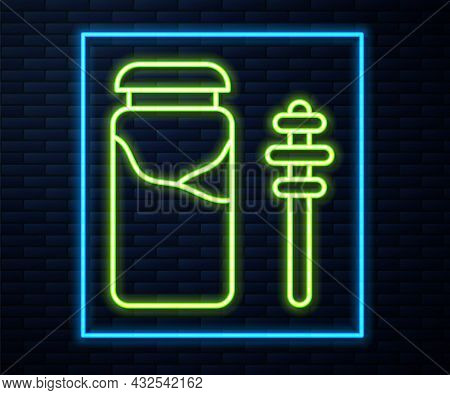 Glowing Neon Line Jar Of Honey And Honey Dipper Stick Icon Isolated On Brick Wall Background. Food B