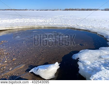 Spring Thawed Ice Hole On Lake. Background Texture. Frozen Ice And Snow By River Side.
