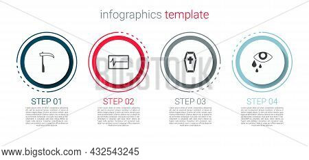 Set Scythe, Beat Dead In Monitor, Coffin With Cross And Tear Cry Eye. Business Infographic Template.