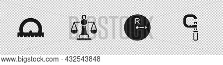 Set Protractor, Scales Of Justice, Radius And Micrometer Icon. Vector