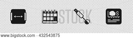 Set Area Measurement, Calendar, Measuring Spoon And Icon. Vector