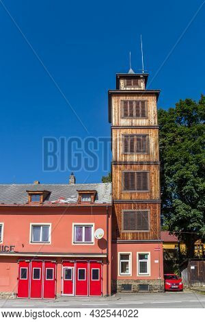 Volary, Czech Republic - September 20, 2020: Wooden Tower Of The Historic Fire Station In Volary, Cz