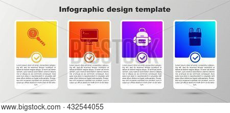 Set Unknown Search, Computer Monitor, School Backpack And . Business Infographic Template. Vector