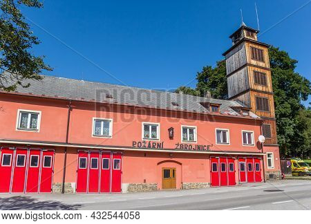 Volary, Czech Republic - September 20, 2020: Red Doors Of The Historic Fire Station In Volary, Czech