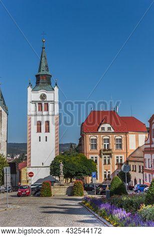 Vimperk, Czech Republic - September 20, 2020: White Church Tower At The Market Square Of Vimperk, Cz