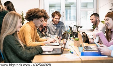Young People In Co-working Creative Space - Youth Millennial Generation And Business Technology Conc