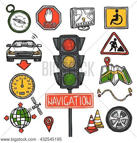 Navigation Gps Position And Geography Location Decorative Icons Sketch Set Isolated Vector Illustrat