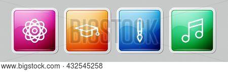 Set Line Atom, Graduation Cap, Paint Brush And Music Note, Tone. Colorful Square Button. Vector