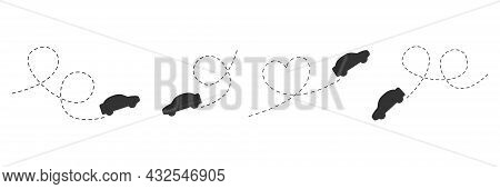 Car Icon Set. Black Automobile Silhouette Driving On Dotted Route. Car Symbol Collection. Journey An