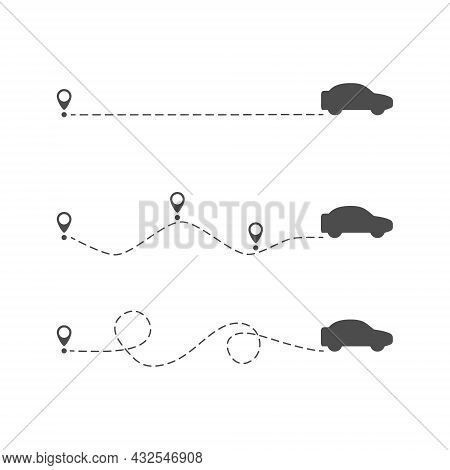 Car Icon With Location Pin. Black Automobile Silhouette Driving On Dotted Route. Car Symbol. Journey