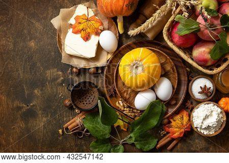 Seasonal Food Autumn Baking Background - Ingredients For Baking (pumpkin, Apples, Eggs, Flour, Sugar