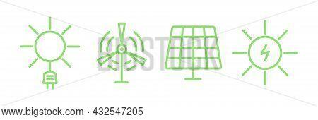 Electric Power Clean Energy Icon Set. Eco Green Alternative Energy Power Collection. Vector Illustra