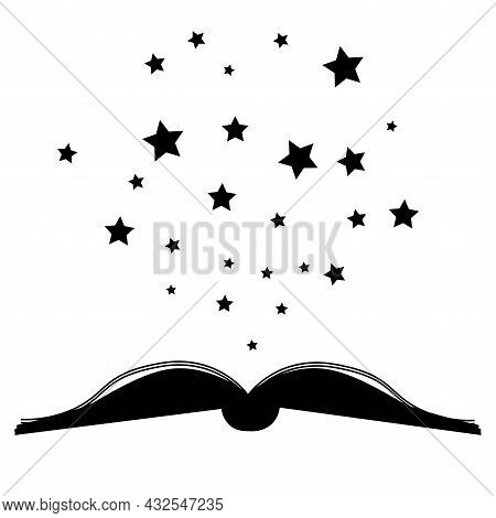 Vector Monochrome Illustration Of Book And Stars Logo Simple Outline Design
