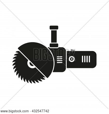 Electric Circular Saw Icon. Bulgarian Built Black Silhouette Work Tool. Simple Angle Grinder With Di