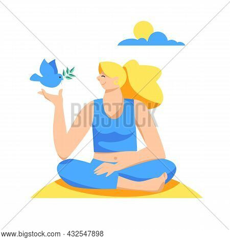 The Dove Of Peace. A Girl With A Pigeon. A Symbol Of Good And Peace. Vector Image