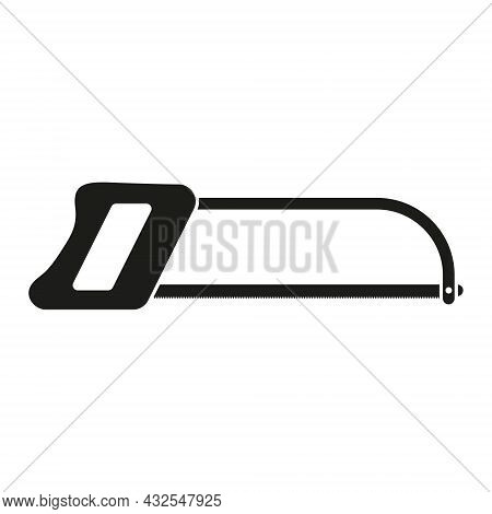 Hack Saw Icon. Black Hacksaw Silhouette. Vector Isolated On White