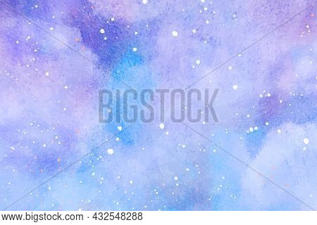 Abstract Watercolor Vector Background. Snowfall On A Cold Blue Winter Background. Hand Painted Water