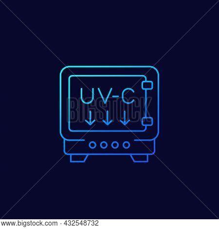 Uv Light Sterilizer With Uv-c Lamps Line Icon
