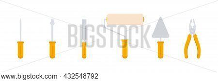 Construction Flat Tools Icons Set. Repair, Building And Work Instruments Collection. Vector Isolated