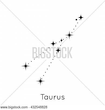 Zodiac Constellation Sign Taurus. Celestial Astrological Horoscope Symbol On White Background. Vecto